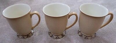 Rare Denby Batik Footed Mug Footed-Sand Outer-White Inner x 3 - Not Seconds