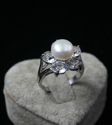 Women's Engagement Genuine White Gold White Pearl Simulated Diamond Ring size  8