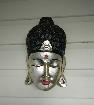 Buddha mask wooden golden Buddha mask hanging wall plug