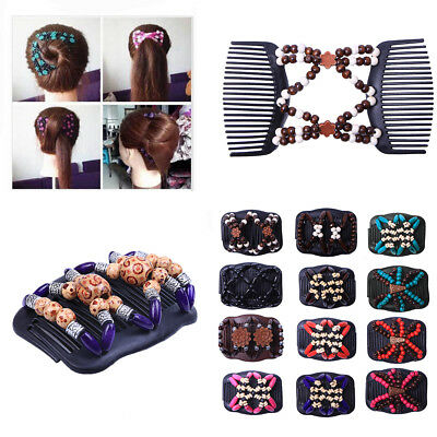 Butterfly Wood Hair Clip Beads Stretch Double Slide Comb Women Hair Accessories