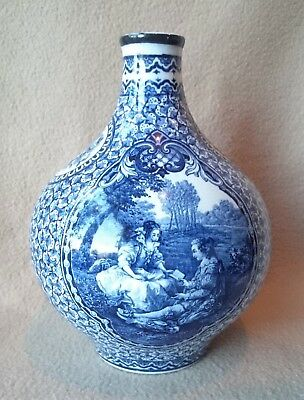 Antique German Royal Bonn Franz Anton Mehlem Louis Xvi Blue & White Ceramic Vase