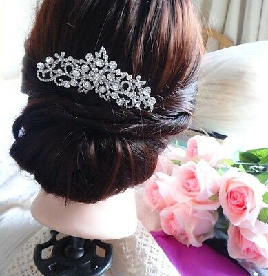 Vintage Diamante Crystal Wedding Bridal Rhinestone Silver Hair Comb Headpiece