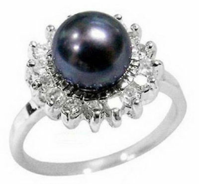 Women's Engagement Genuine White Gold Akoya Black Pearl Ring size 9
