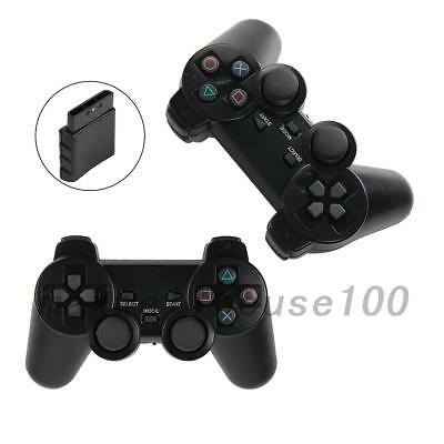 2X Creative Black Wireless Shock Game Joypad Gamepad Controller for Sony PS2 US