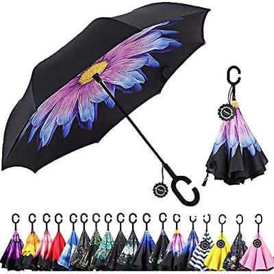 Monstleo Inverted UmbrellaDouble Layer Reverse Umbrella For Car Outdoor Use By W