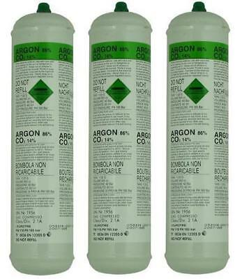 3 x DISPOSABLE ARGON/CO2 GAS BOTTLES FOR MIG & TIG WELDING