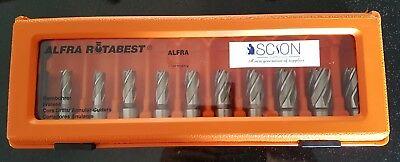 Quality HSS Mag Drill Annular Rotabroach Type Cutter Set 10 Piece Short in Case
