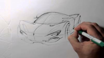 hand drawing concept car design print penny 1 cent