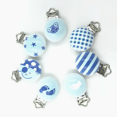 Blue series Baby Pacifier Clip Wood Teether Accessories Soother Clasps Holders