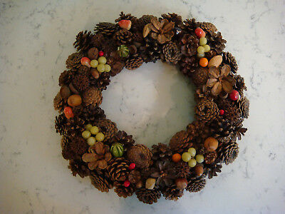 Vintage Hand Made Christmas Pinecone Wreath w/ Fruit  *14 IN around