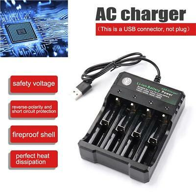 Smart 4 Slots 18650 Li-ion Battery AC Charger Rechargeable LED Indicator 1.2A