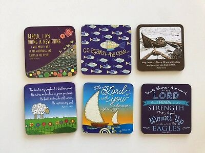 Bible Verse Coasters Bundle, Bible Quotes, Joshua Isaiah, Set x6
