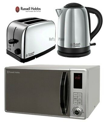Microwave Kettle and Toaster Set Russell Hobbs Kettle & 2 Slot Toaster - Silver