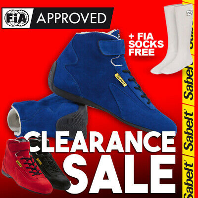 FIA Sabelt Base Mid RS-100 Racing Race Shoes Blue Black Red Boots Clearance Sale