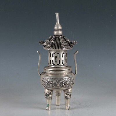 Chinese Silvering Copper Dragon Incense Burner Made During The Qianlong Period+a