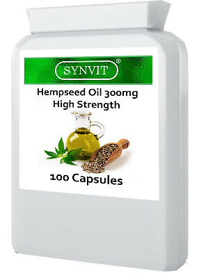 High Strength hempseed Oil 300mg 100 Capsules Omega 3 6 Canabis Sativa  Synvit