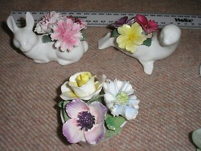 3 x Vintage Crown Staffordshire Handcrafted Fine Bone China Ornaments