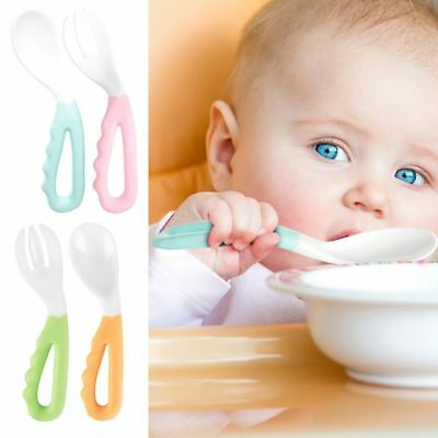 Baby Pacifier Feeding Spoon Fork Solid Curved Handle Children Tableware 2pcs