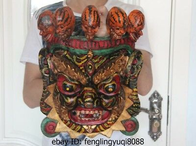 Tibet Folk Buddhism Temple Wood Carved Painted Statue Mahakala Buddha Head Mask