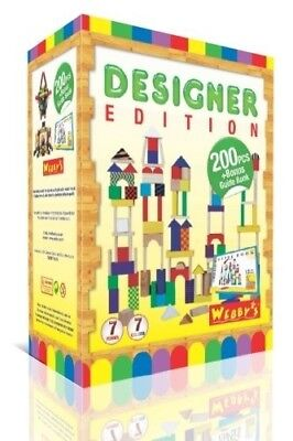 Webby's Designer Edition * 200 Multi Form and Multi Coloured Wooden Bricks