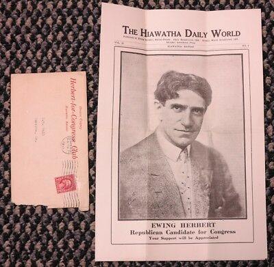1928 Brown County Herbert For Congress Club mailer, Hiawatha Kansas