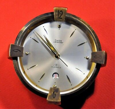 """""""Swiza"""" ~7J cal.8  Old c.1964's  8 day Date  Swiss made Solid Brass Alarm clock"""