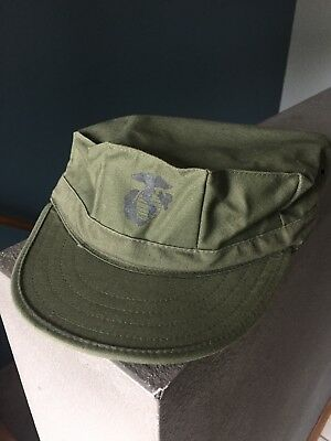USMC Marine Corps OD Green 8 Point Cover Cap Hat Large.  GOV ISSUE!