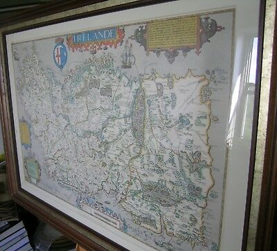 Map of Ireland, Faximile Print, framed, matted, under glass