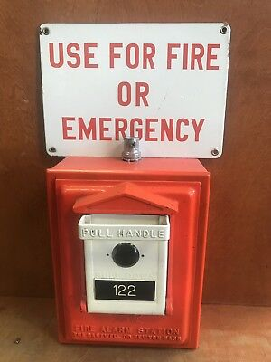 Vintage Gamewell Pull Handle Fire Alarm Call Box Plus Metal Fire Emergency Sign
