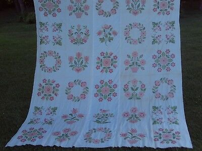 "Vintage Paragon Cross Stitched Quilt Top - approx. 82"" 'x 98"" - Ready to Quilt"