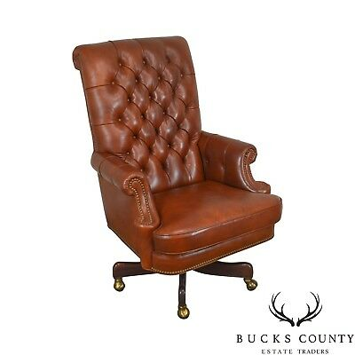 Groovy Hancock Moore Tufted Brown Leather Executive Desk Chair Ncnpc Chair Design For Home Ncnpcorg
