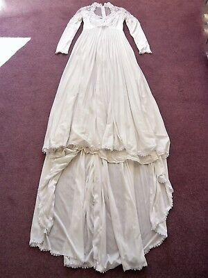 1970s wedding dress with train, pleats & lace trim Original Made in USA UK 6
