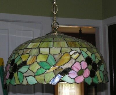 Nice Vintage Stained Glass Hanging Light Fixture Birds Floral Kitchen Dining