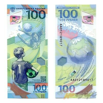 RUSSIA. 100 roubles 2018. FIFA World Cup Russia 2018. AA series. UNC. Polymer