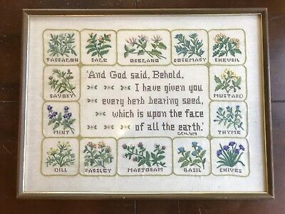 Antique Cross Stitch Sampler Herb Garden Bible Verse Completed Framed Estate Art