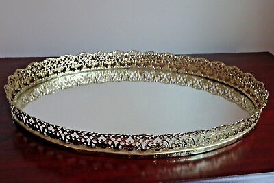 """Vintage Gold Oval Vanity Mirror Tray with Filigree Scalloped Edge 13"""" NICE"""