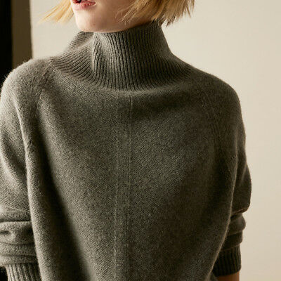 Women Cashmere High-Necked Knitwear Pullovers Winter Warm Tops Sweater