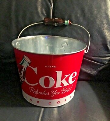 Coca-Cola Galvanized Collectible Party Beverage and Beer Bucket Red/White/Silver