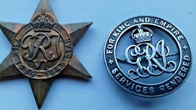 Vintage WW1 For Kings and Empire Service Rendered Badge 75635 & WW2 star medal