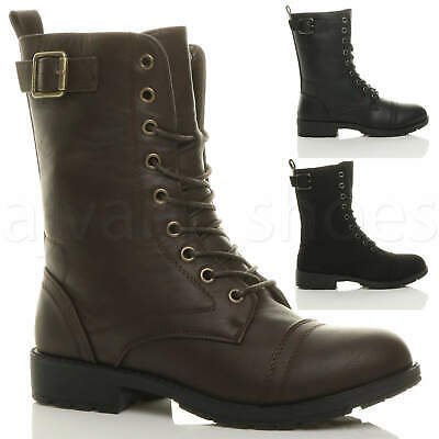 Womens Ladies Low Heel Lace Up Zip Biker Army Military Combat Ankle Boots Size