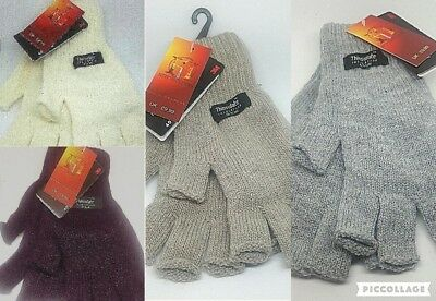 Ladies Mens Thermal THINSULATE Fingerless Gloves Knitted Wooly 3M Black UK NEW