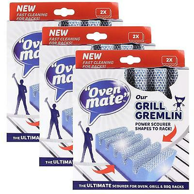6 x Oven Mate Cooker Shelf BBQ Grill Gremlin Cleaner Scourer Rack Hob Sponge