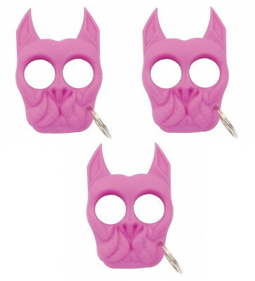 SET OF 3 Brutus Self-Defense Spike Keychain Made of Strong ABS Plastic - Pink