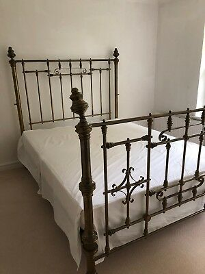 Antique Brass Double Bed with Base