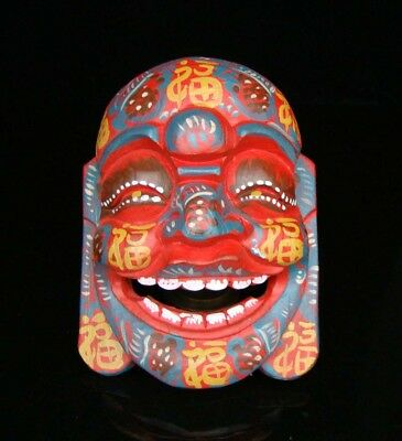 200mm Handmade Carving Statue colored drawing wood Mask Smiling Face Buddha Deco