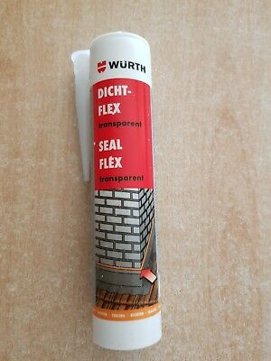 5 Tuben a 310 ml Würth Dichtflex , Seal Flex Transparent . Silikon