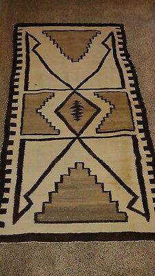 Antique 1930s Navajo Rug Tan & Brown Symmetrical 5ft by 2.6ft
