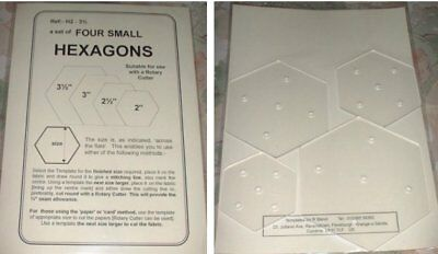 Patchwork Templates - Hexagons pack of FOUR  - made from 2mm thick Plastic