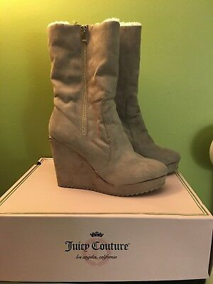 JUICY COUTURE KASIA TAUPE BLACK Onyx Faux Suede Shearling Wedge Wedge Shearling ... 3cbfc8