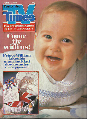 TV Times 19th -25th March 1983 Prince William (as a baby) on the cover Yorkshire